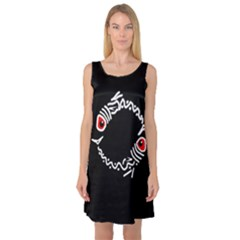 Abstract fishes Sleeveless Satin Nightdress