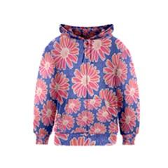Pink Daisy Pattern Kids  Zipper Hoodie