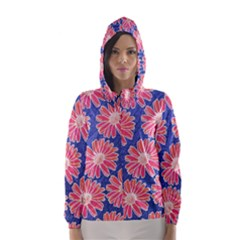 Pink Daisy Pattern Hooded Wind Breaker (women)
