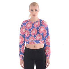 Pink Daisy Pattern Women s Cropped Sweatshirt