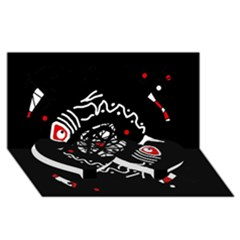 Abstract fishes Twin Heart Bottom 3D Greeting Card (8x4)