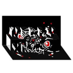 Abstract fishes Merry Xmas 3D Greeting Card (8x4)