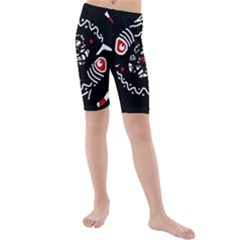 Abstract fishes Kid s Mid Length Swim Shorts