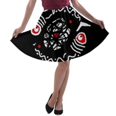 Abstract fishes A-line Skater Skirt