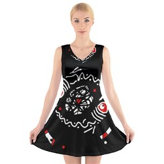 Abstract fishes V-Neck Sleeveless Skater Dress