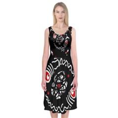 Abstract fishes Midi Sleeveless Dress
