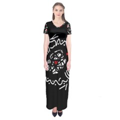 Abstract fishes Short Sleeve Maxi Dress