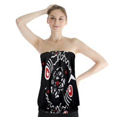 Abstract fishes Strapless Top