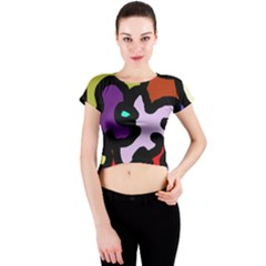 Colorful abstraction by Moma Crew Neck Crop Top