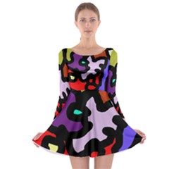 Colorful abstraction by Moma Long Sleeve Skater Dress