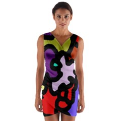 Colorful abstraction by Moma Wrap Front Bodycon Dress