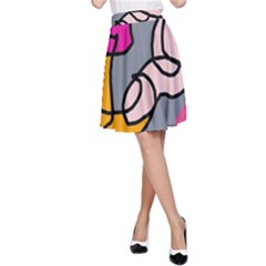 Colorful abstract design by Moma A-Line Skirt