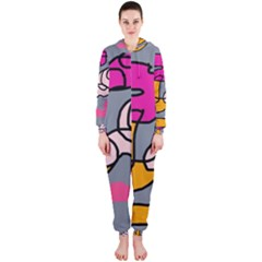Colorful abstract design by Moma Hooded Jumpsuit (Ladies)