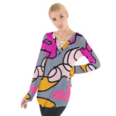 Colorful abstract design by Moma Women s Tie Up Tee