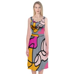 Colorful abstract design by Moma Midi Sleeveless Dress