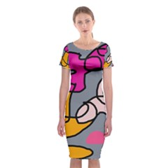 Colorful abstract design by Moma Classic Short Sleeve Midi Dress