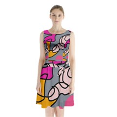 Colorful abstract design by Moma Sleeveless Waist Tie Dress