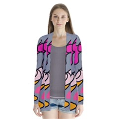 Colorful abstract design by Moma Drape Collar Cardigan