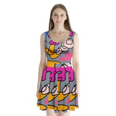 Colorful abstract design by Moma Split Back Mini Dress