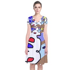 Abstract comic Short Sleeve Front Wrap Dress