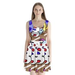 Abstract comic Split Back Mini Dress