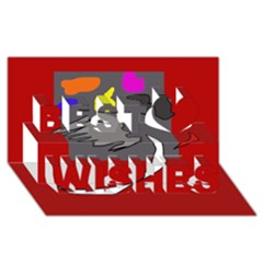 Red abstraction by Moma Best Wish 3D Greeting Card (8x4)