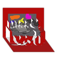Red abstraction by Moma Miss You 3D Greeting Card (7x5)