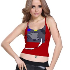 Red abstraction by Moma Spaghetti Strap Bra Top