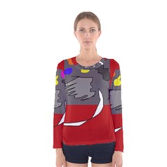 Red abstraction by Moma Women s Long Sleeve Tee