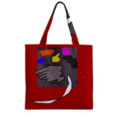 Red abstraction by Moma Zipper Grocery Tote Bag