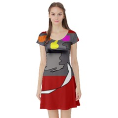 Red abstraction by Moma Short Sleeve Skater Dress