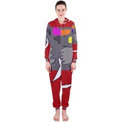 Red abstraction by Moma Hooded Jumpsuit (Ladies)