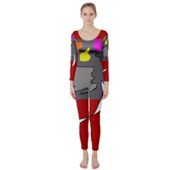 Red abstraction by Moma Long Sleeve Catsuit