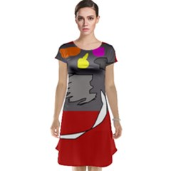Red abstraction by Moma Cap Sleeve Nightdress