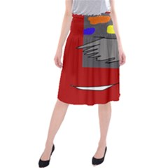 Red abstraction by Moma Midi Beach Skirt