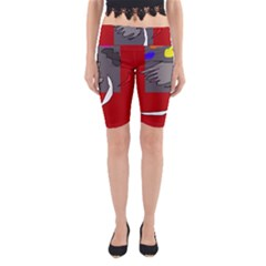 Red abstraction by Moma Yoga Cropped Leggings