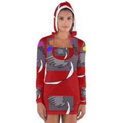 Red abstraction by Moma Women s Long Sleeve Hooded T-shirt