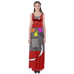 Red abstraction by Moma Empire Waist Maxi Dress