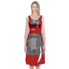 Red Abstraction By Moma Midi Sleeveless Dress