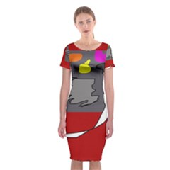 Red Abstraction By Moma Classic Short Sleeve Midi Dress