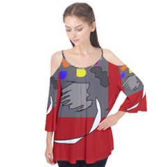 Red abstraction by Moma Flutter Tees