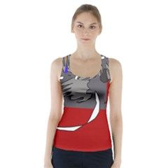 Red abstraction by Moma Racer Back Sports Top