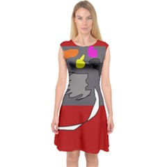 Red abstraction by Moma Capsleeve Midi Dress