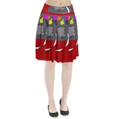 Red abstraction by Moma Pleated Skirt