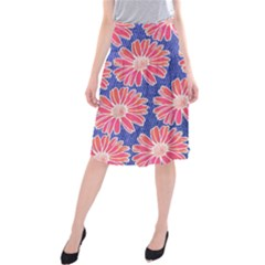 Pink Daisy Pattern Midi Beach Skirt