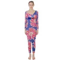 Pink Daisy Pattern Long Sleeve Catsuit