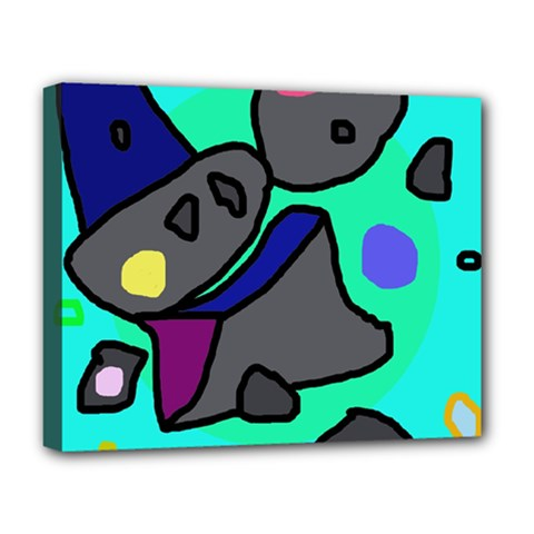 Blue comic abstract Deluxe Canvas 20  x 16