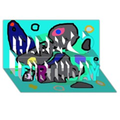Blue comic abstract Happy Birthday 3D Greeting Card (8x4)