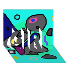 Blue comic abstract GIRL 3D Greeting Card (7x5)