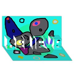 Blue comic abstract BELIEVE 3D Greeting Card (8x4)